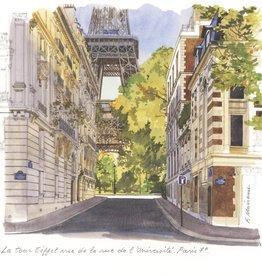 """La Tour Eiffel Vue de la Rue de l'Universite Greeting Card - 6"""" x 6"""""""