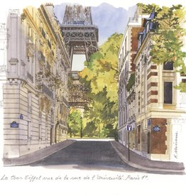 "PGC La Tour Eiffel Vue de la Rue de l'Universite Greeting Card - 6"" x 6"""