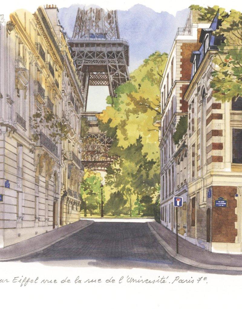 """PGC La Tour Eiffel Vue de la Rue de l'Universite Greeting Card - 6"""" x 6"""""""