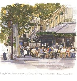 """Le Cafe des Deux Magots Greeting Card - 6"""" x 6"""""""