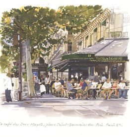 "PGC Le Cafe des Deux Magots Greeting Card - 6"" x 6"""