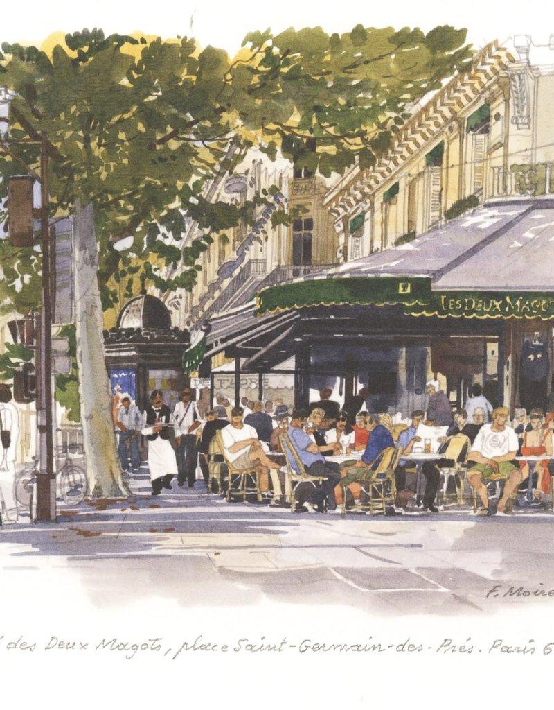 """PGC Le Cafe des Deux Magots Greeting Card - 6"""" x 6"""""""