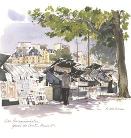 """Les Bouquinistes Greeting Card - 6"""" X 6"""""""