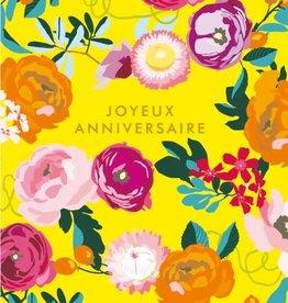 Joyeux Anniversaire Yellow Flowers Greeting Card