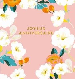 Joyeux Anniversaire Pink White Flowers Greeting Card