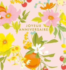 Joyeux Anniversaire Pink Flowers Greeting Card