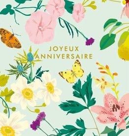 Joyeux Anniversaire Teal Flowers Greeting Card