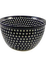 Large Serving Bowl (2) - White dots (Blue Rim)