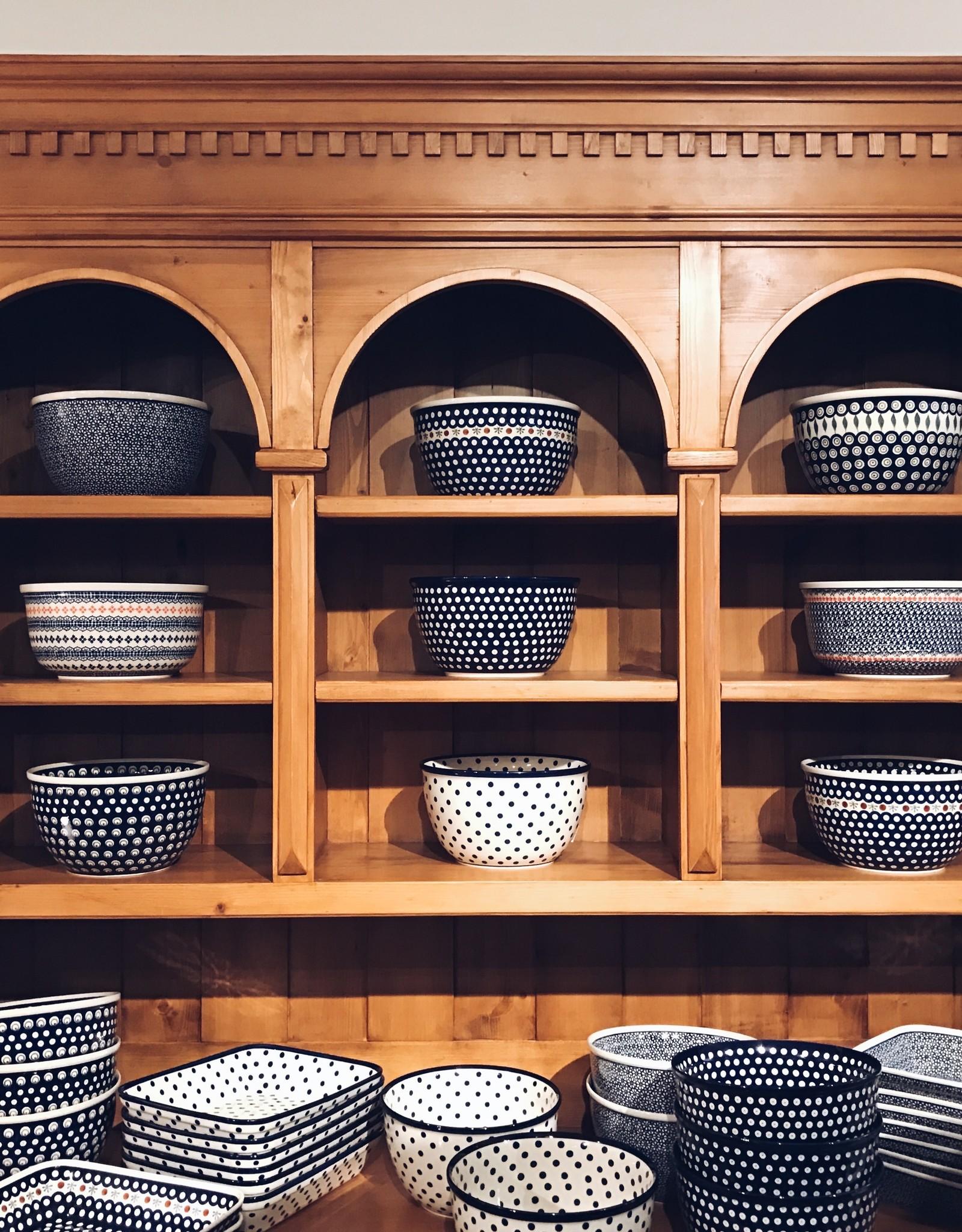 Polish Pottery Casserole Large - Blue Dots (Blue Rim)