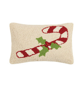 "Candy Cane Hook Pillow - 8"" x 12"""