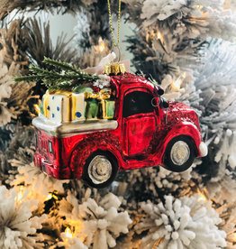 "Red Truck w/Gifts Ornament - 4.5""L x2.25""W x4""H"