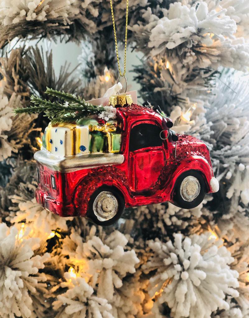 """Red Truck w/Gifts Ornament - 4.5""""L x2.25""""W x4""""H"""