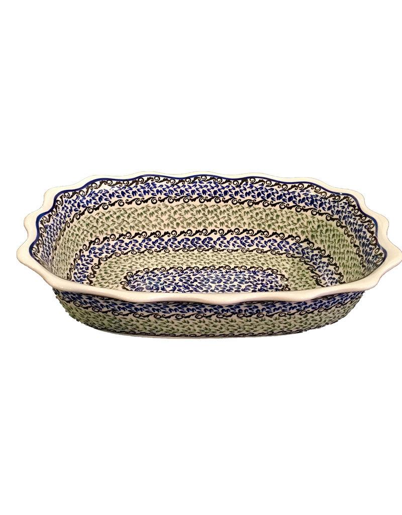 Scalloped Dish - Blue / Green