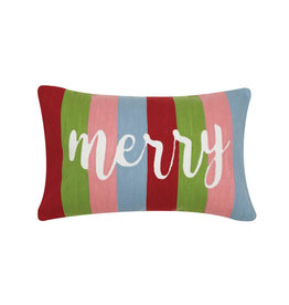 "Merry Crewel Pillow - 12"" x 20"""