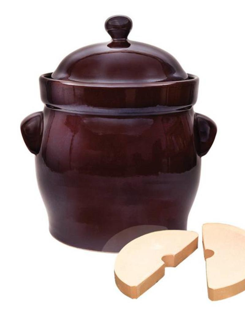Polish Pottery Fermenting 10L Brown / Round Pot (Packed)
