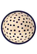 Cereal/Soup Bowl II- white/blue dots blue rim