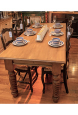 7 ft. Table - Twisted Legs, 80x210x100, 28mm top' Distress' Natural