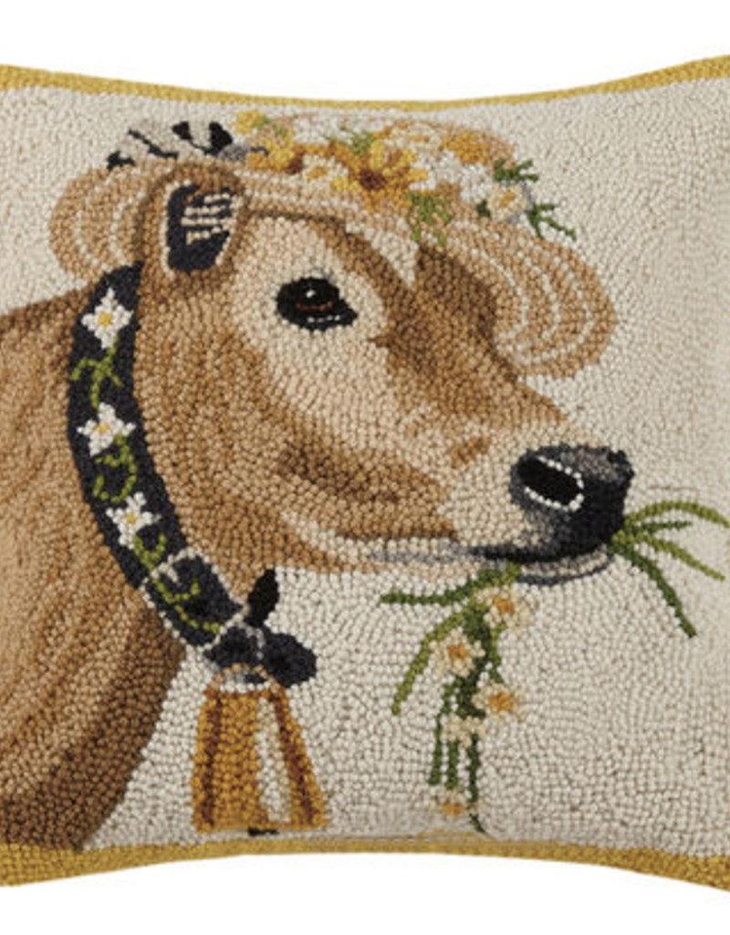 """Cow w/Daisy Ring/Hat Hook Pillow - 16"""" x 16"""""""