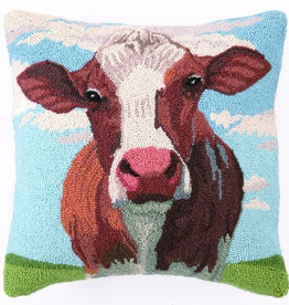 "Cow Portrait Hook Pillow - 18"" x 18"""