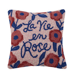 "La Vie en Rose w/flowers Hook Pillow - 16"" x 16"""