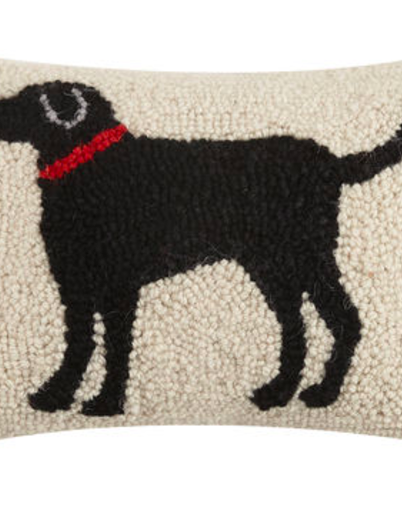 "Black Dog Hook Pillow - 8"" x 12"""