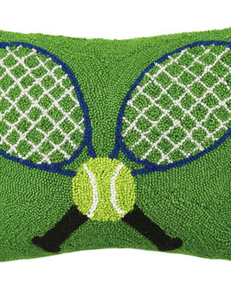 "Crossed Tennis Rackets Hook Pillow - 18"" Oblong"
