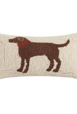 """Brown Dog Hook Pillow - 8"""" x 12"""""""