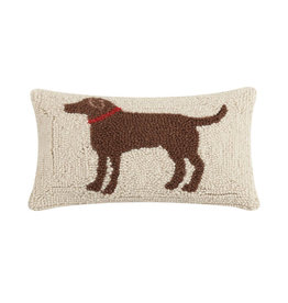 "Brown Dog Hook Pillow - 8"" x 12"""