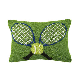 "Crossed Tennis Rackets Hook Pillow - 18"" Oblong"