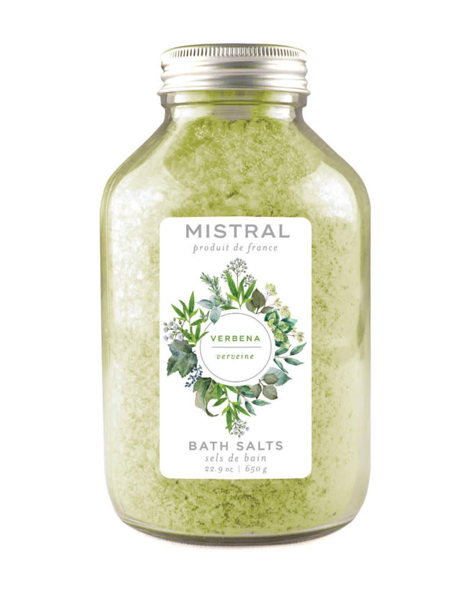 Verbena Bath Salts - 22.9 oz Glass Bottle - Mistral Classic Collection