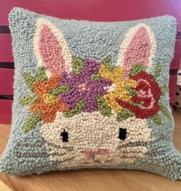 "Flower Crown Bunny Hook Pillow - 10"" x 10"""
