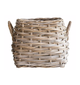 "Square Natural Rattan Basket W/handles -13-1/4"" Square x 13-1/4""H"