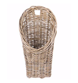 Rattan Wall Basket -11 L 6 W 19.5 H,OPENING: 4.5 W NARROWS TO 1.5