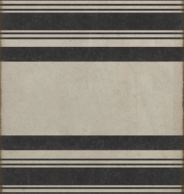 Spicher & Company Black & White Stripes Vinyl Rug - 36 x 90