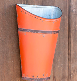 "Park Hil Tractor Orange Metal Wall Basket - 12"" x 7"" x 17.25"""