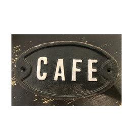 "Cast Iron Cafe Plaque - 7 1/4"" x 4 1/4"""
