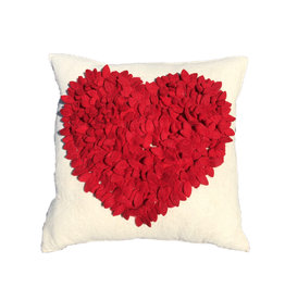 "ARCHome Heart Felted Pillow - Red/Cream - 20"" x 20"""