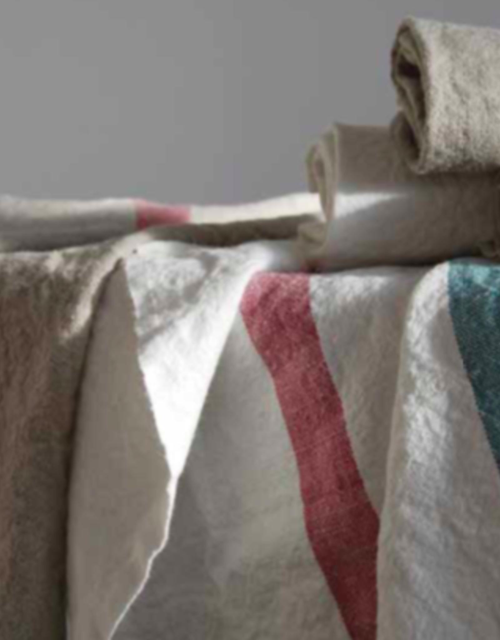"Charvet Editions - Bistro Towel DouDou White/Rose - 18"" X 30"""