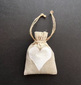 "Harvest Import, Inc. Linen Sachet w White Heart Filled w/ French Lavender 5"" x 7"""