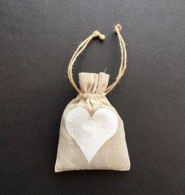 "Linen Sachet w White Heart Filled w/ French Lavender 5"" x 7"""