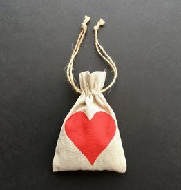 """Linen Sachet w/Red Heart Filled w/French Lavender - 4"""" x 6"""""""
