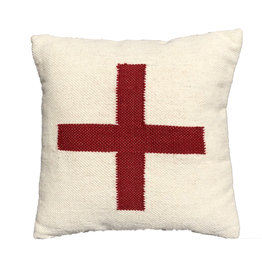 "Square Wool Blend Pillow w/ Red Cross - 19""x19"""