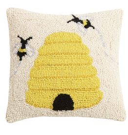 "Beehive Hook Pillow - 10"" x 10"""