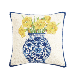 "Chinoiserie Vase Daffodils Hook Pillow - 16"" x 16"""