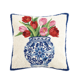 "Chinoiserie Vase Tulips Hook Pillow - 16"" x 16"""