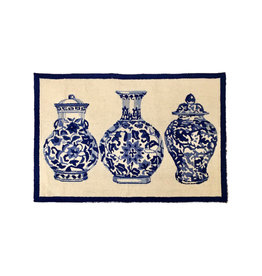 Chinoiserie Vases Hook Rug - 2 Ft x 3 Ft