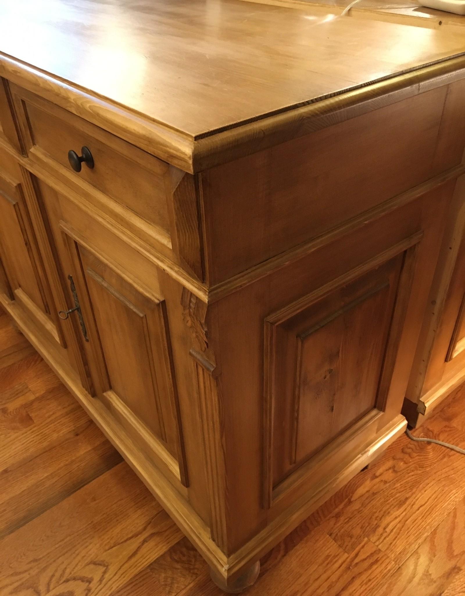 "4 Door Buffet, 4 drawers, 84"" x 21.5"" x 35.5"" Distress Wax Finish"