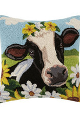 "Cow with Flowers 18"" x 18"""