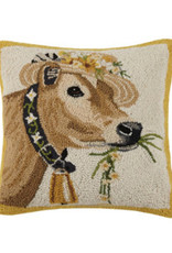 "Cow w/Daisy Ring/Hat Hook Pillow - 16"" x 16"""