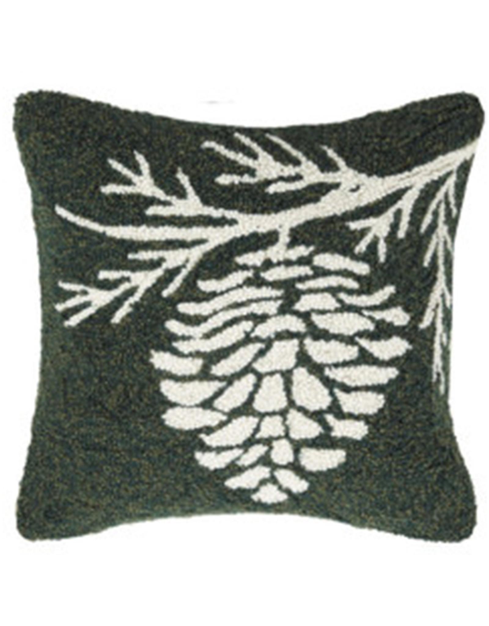 "Pinecone Hook Pillow - 16"" x 16"""